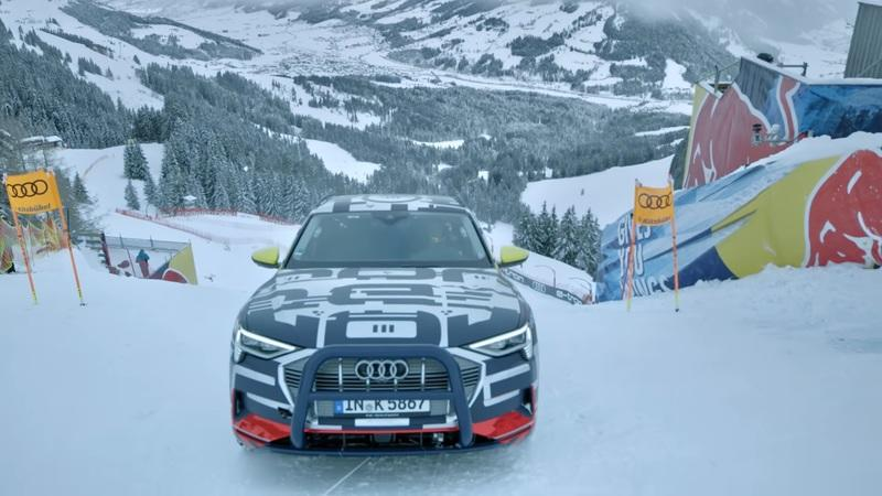 Watch Audi Drive the E-Tron SUV up an 85-Percent Ski Slope