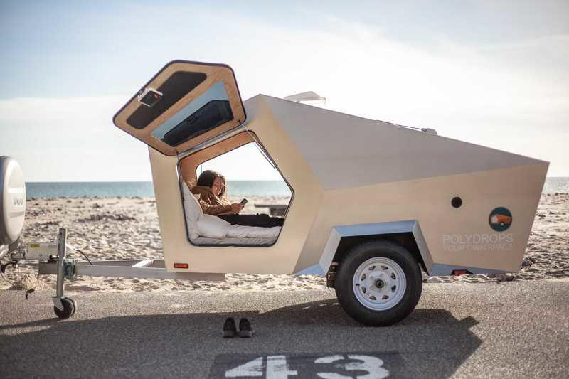 Polydrops' Spaceship-Inspired Teardrop Trailer Has Rad Gullwing Doors