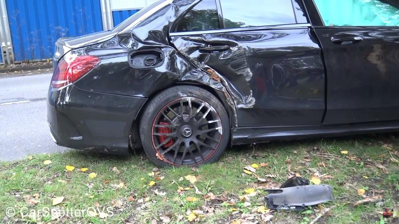 Watch an Idiot in a Mercedes-AMG C63 Go Full On Ford Mustang Into a Tree