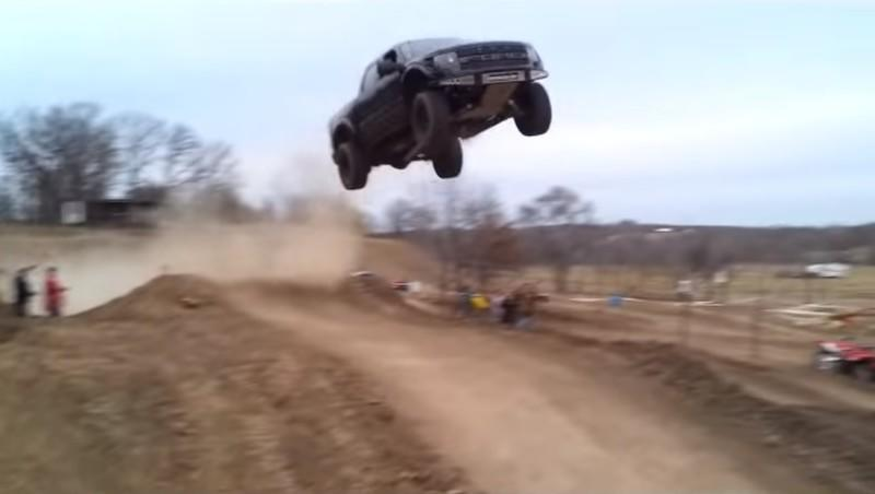 Watch Someone Jump a Ford F-150 Raptor 90 Feet to Its Death