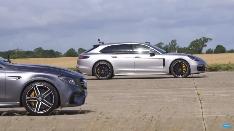 Video: If You Put a Porsche Panamera Sport Turismo E-Hybrid and a Mercedes-AMG E63 S on the Drag Strip, Who Wins?