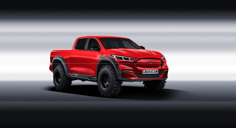 This Ford Mustang Mach-E Pickup Rendering Could be a Perfect Electric Ranger Raptor