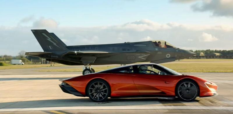 Watch a McLaren Speedtail Take on an F-35 Fighter Jet in New Top Gear Trailer