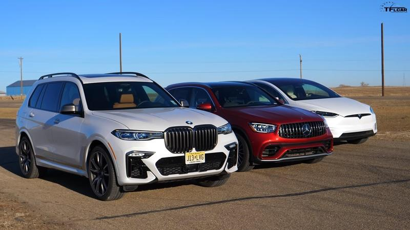 BMW X7 vs Mercedes-AMG GLC vs Model X Drag Race: Hoping Your Kids Won't Puke