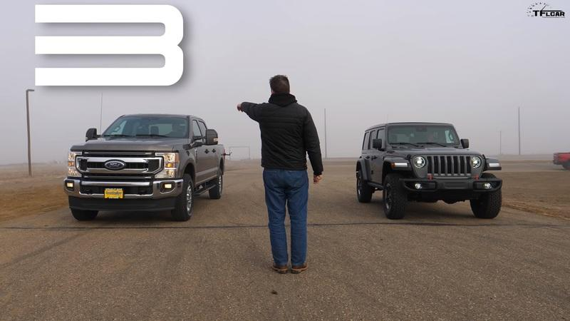 Can a Turbo Diesel Jeep Wrangler Hold Up in a Drag Race Against a Gladiator, Ram Rebel, and Ford F-250?