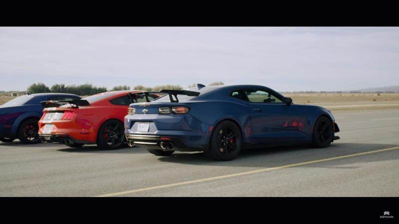 Watch a Mustang Shelby GT500 Take On the Camaro ZL1 and Challenger Redeye in a 2,200-Horsepower Drag Race
