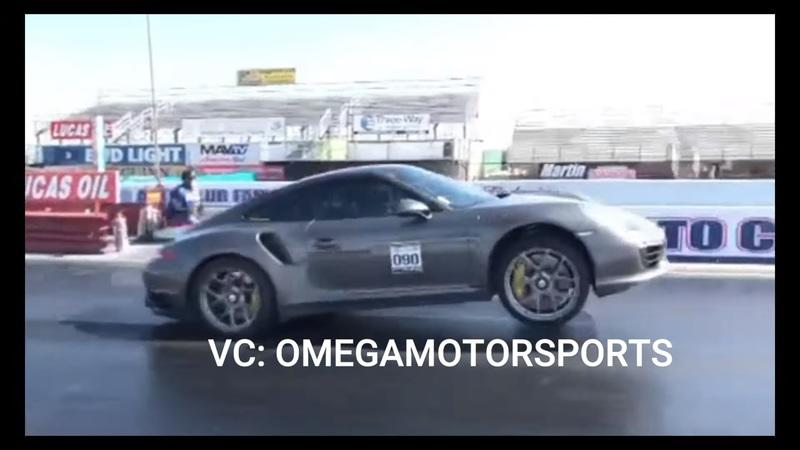 1100 HP Porsche 911 Turbo Almost Takes Off During Drag Launch