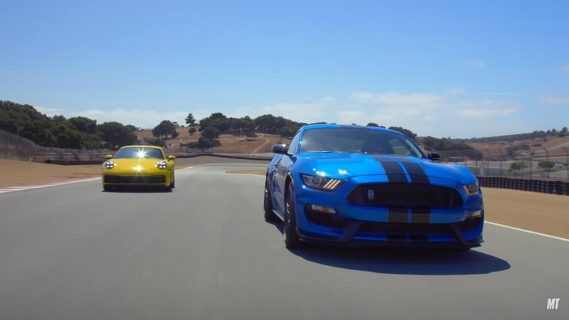 Ford Mustang Shelby GT350 Battles Porsche 911 at Laguna Seca
