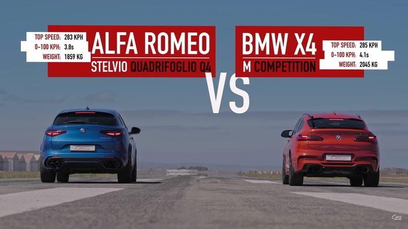 Watch an Alfa Romeo Stelvio Quadrifoglio Go Up Against The BMW X4 M Competition In A Drag Race - image 891146