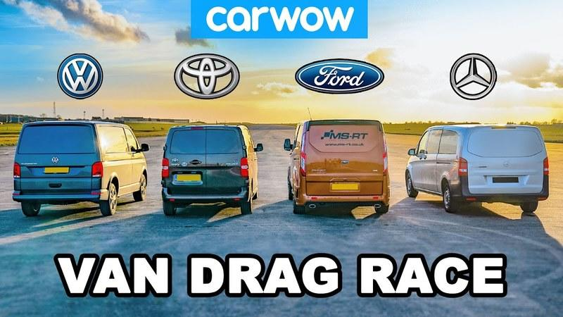 Watch Four Vans Go Up Against Each Other On A Drag Strip!