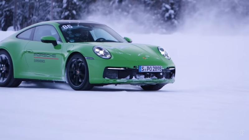 A Porsche 911 GT3 and a Taycan Roll Onto a Frozen Lake