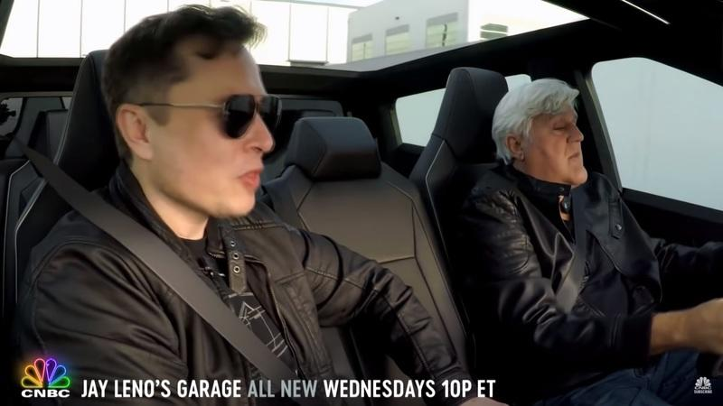 Elon Musk and Jay Leno Cruising in the Tesla Cybertruck Is Painfully Blissful