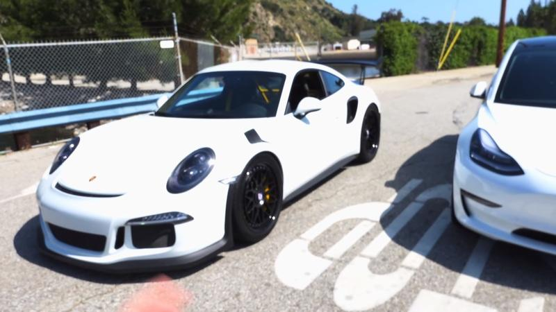 How Does a $50,000 Tesla Model 3 Hold Up Against a $200,000 Porsche 911 GT3 RS?