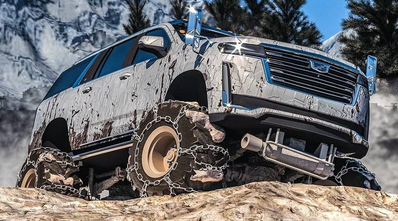 This Weird Rendering of an Off-Roading Cadillac Escalade Makes Us Uncomfortable