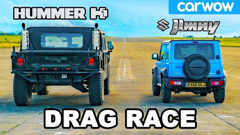 Watch a Suzuki Jimny Take On The Mighty Hummer H1 In a Drag Race