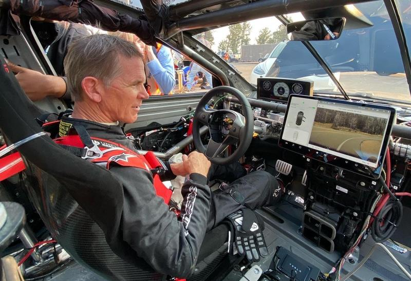 Here's A Rare Look Into How Bare The Inside of a Tesla Model 3 Pikes Peak Racer Is