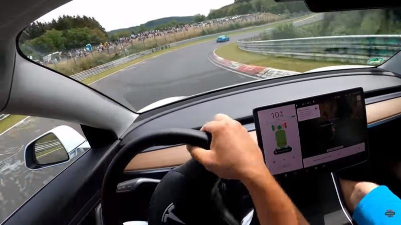 Here's What It Looks Like to Burn Off Some Electrons In a Tesla Model 3 on the Nurburgring