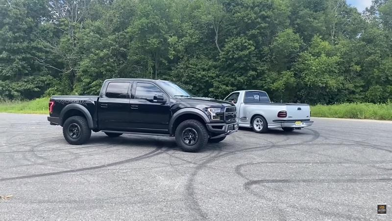 Watch the Ford F-150 Raptor Take On An Old-School Ford SVT Lightning