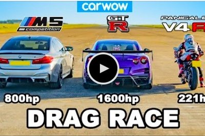 The BMW M5 and Nissan GT-R Try to Tame a Ducati Panigale V4R in a Drag Race for the Ages
