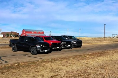 Watch The Ram TRX and The Ford F-150 Raptor Come Face-to-Face In This Four-Way Drag Race