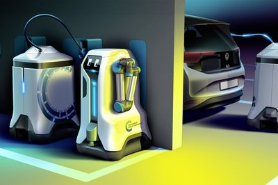 Volkswagen's Mobile EV Charging Robot Is Kind Of Cute