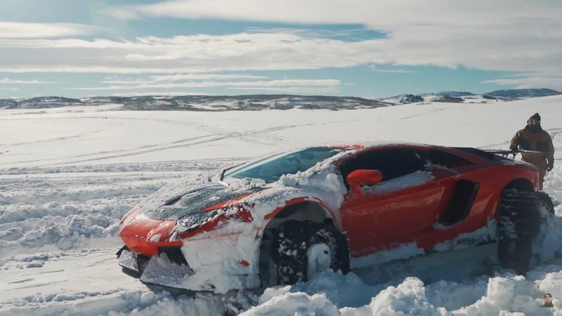 This Lamborghini Aventador on Snow Tracks Is Definite Evidence That Someone Is Too Bored With Too Much Money