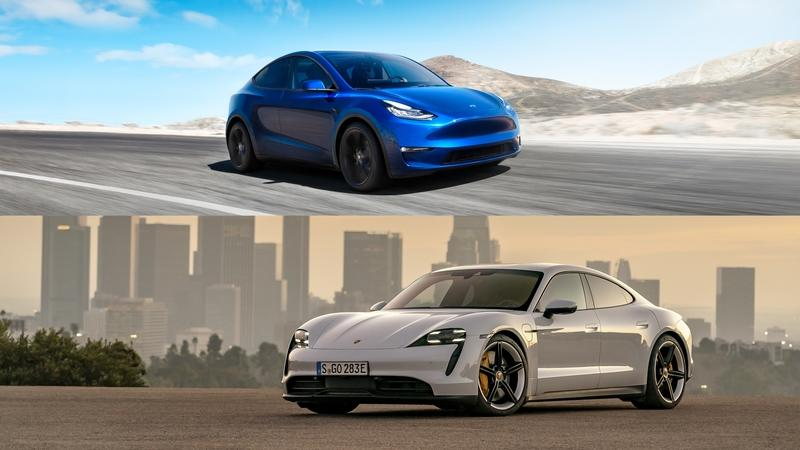 Watch a Porsche Taycan Take On the Tesla Model Y In This All-Out EV Drag Race