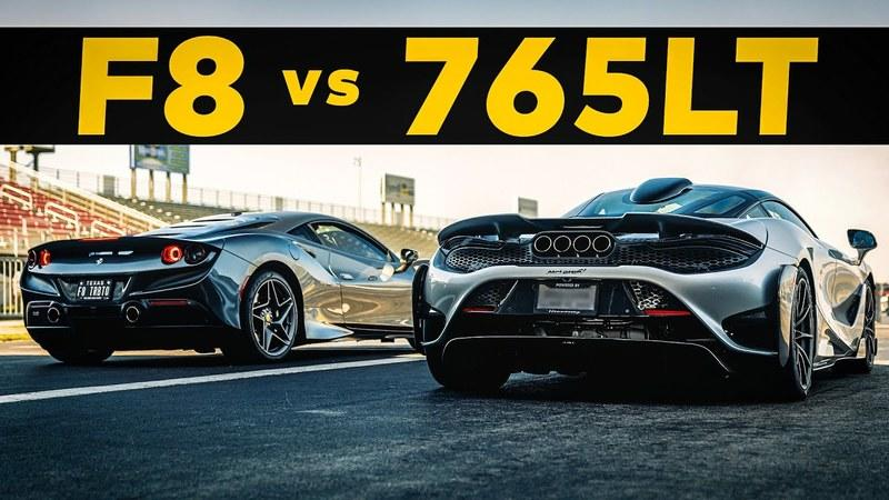 Watch The World's Quickest Ferrari F8 Tributo Take on a McLaren 765LT