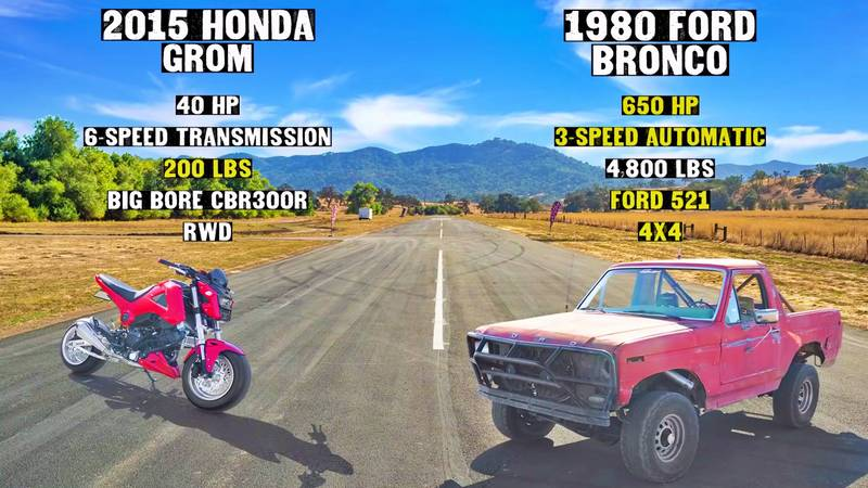 A Modified Honda Grom Takes On An Old-school Tuned Ford Bronco - image 1019007