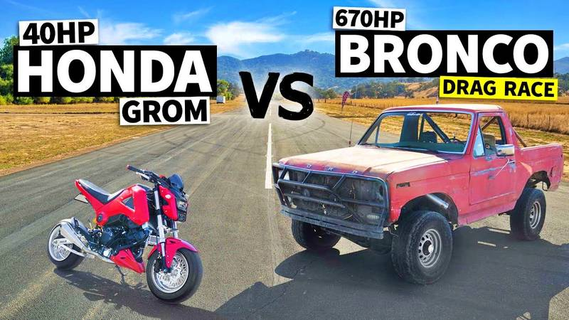 A Modified Honda Grom Takes On An Old-school Tuned Ford Bronco - image 1018991