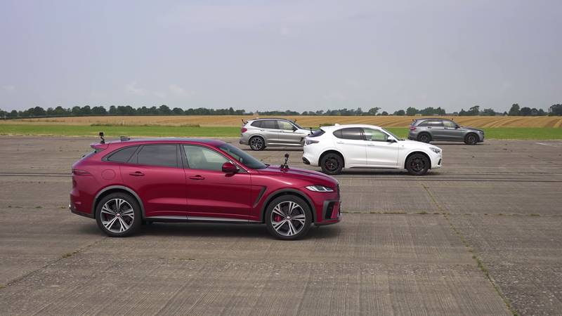 Watch The BMW X3 M, The Jaguar F-Pace, And The Alfa Romeo Stelvio Get Railroaded By The Mercedes-AMG GLC 63! - image 1016051