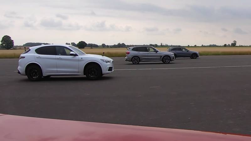 Watch The BMW X3 M, The Jaguar F-Pace, And The Alfa Romeo Stelvio Get Railroaded By The Mercedes-AMG GLC 63! - image 1016060