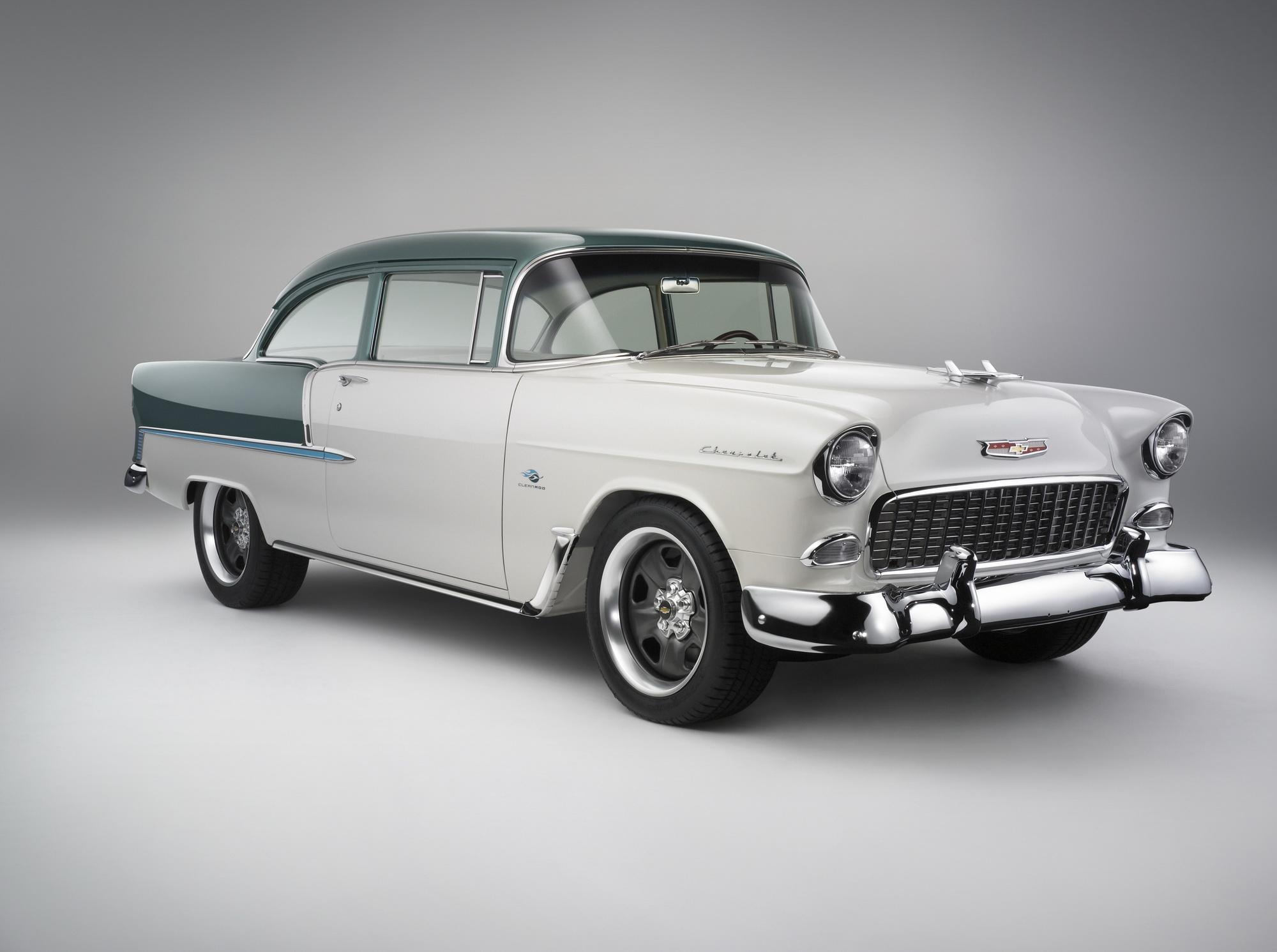 Chevrolet revealed at the sema show the e rod concept vehicle it is a fully restored 1955 chevy powered by a 6 2 liter ls3 v8 e rod engine that delivers