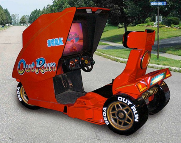 SEGA Outrun Arcade Game Combines With Three-wheeled Scooter