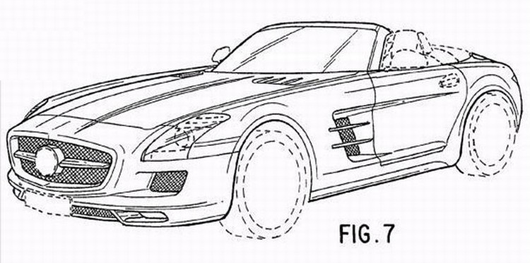 mercedes sls amg roadster revealed in patent drawings