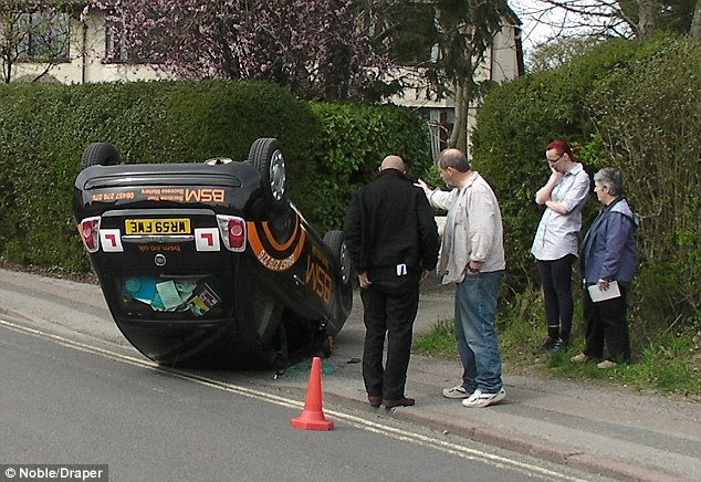 Student Driver Crashes And Flips Over Fiat 500 On Just Her