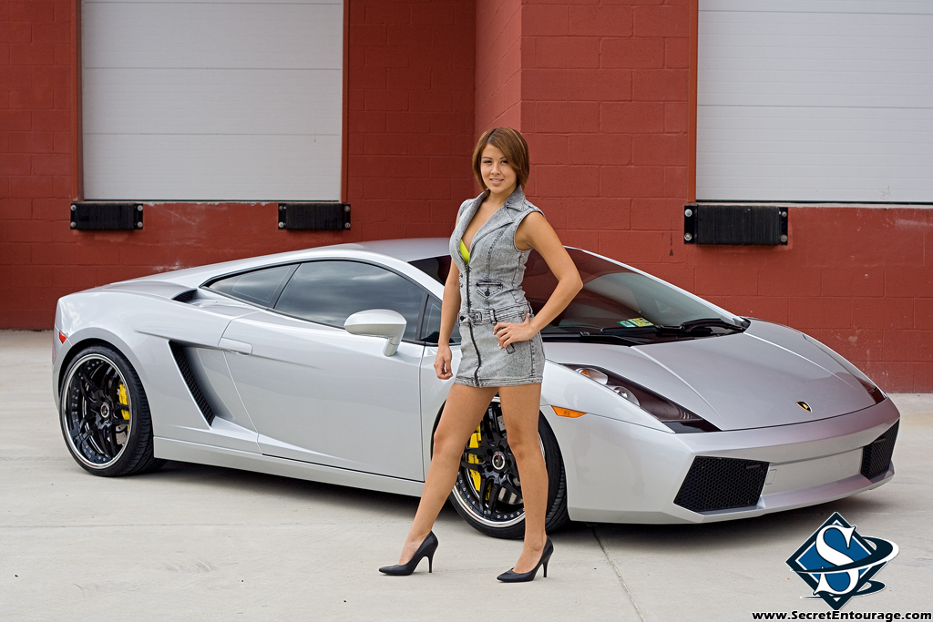 Ashley Models With A Lamborghini Gallardo And Bmw M3 Sport Pack Pictures Photos Wallpapers
