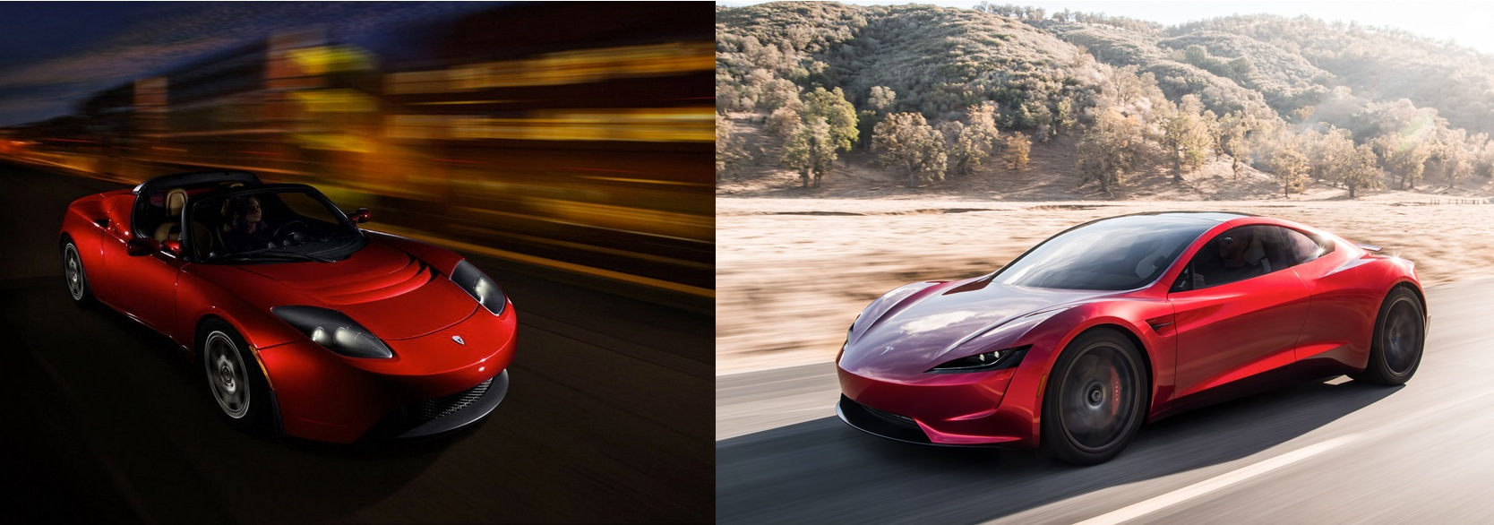 quick comparo: tesla roadster - new vs. old pictures, photos