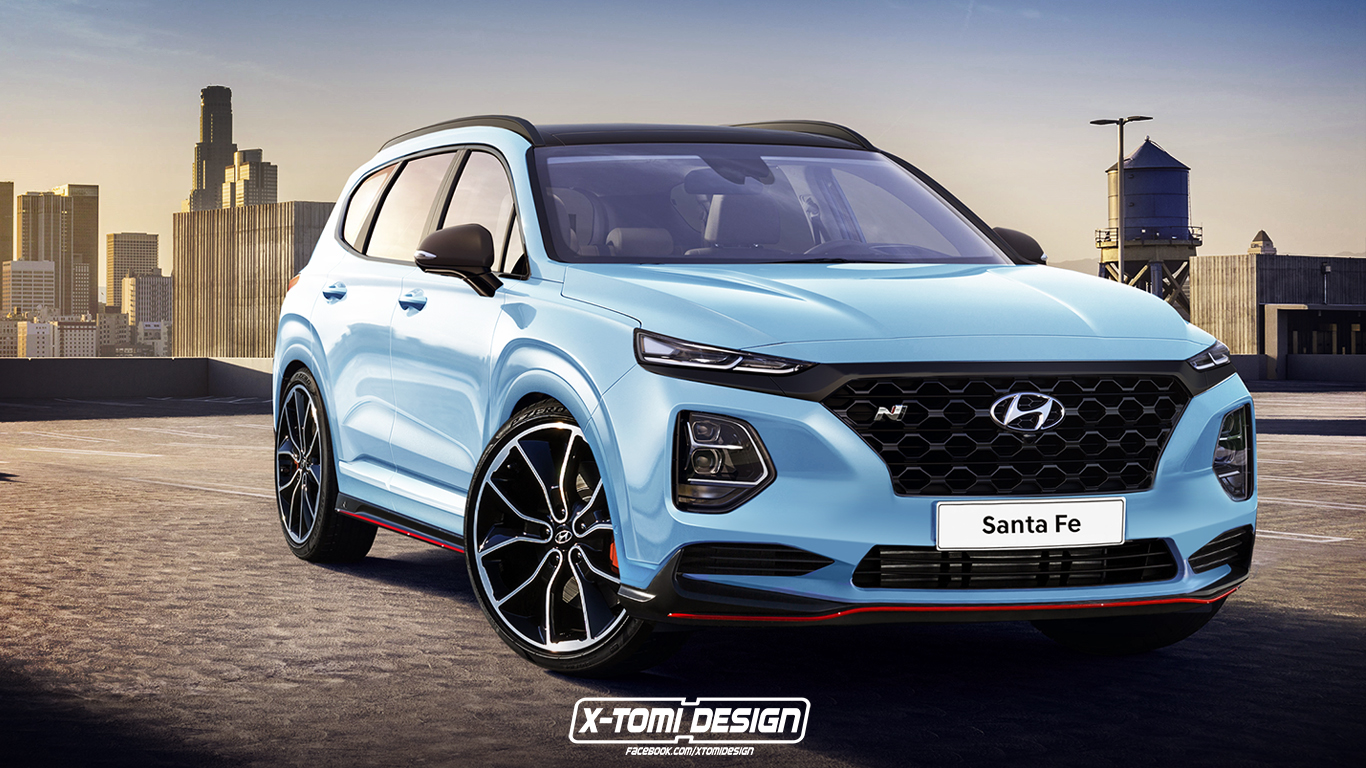 rendered 2019 hyundai santa fe n will hyundai go all in top speed. Black Bedroom Furniture Sets. Home Design Ideas