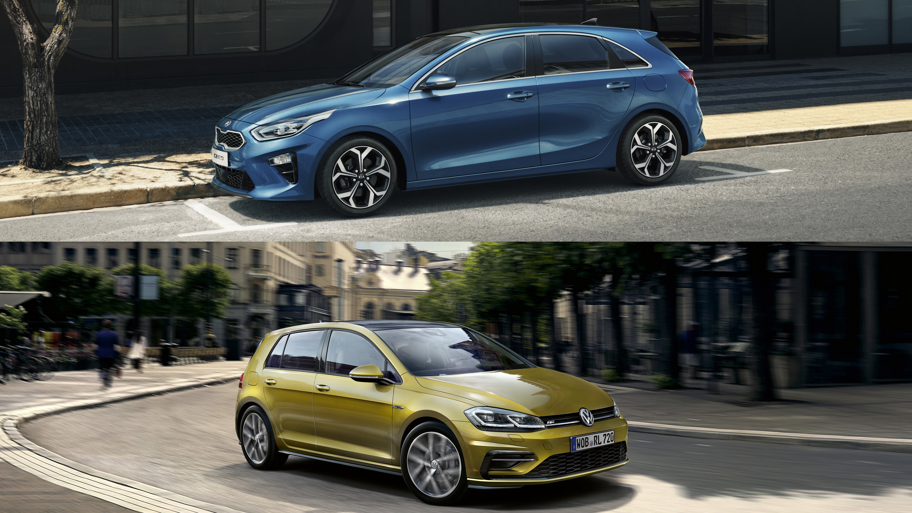 visual comparison 2019 kia ceed vs 2018 volkswagen golf. Black Bedroom Furniture Sets. Home Design Ideas
