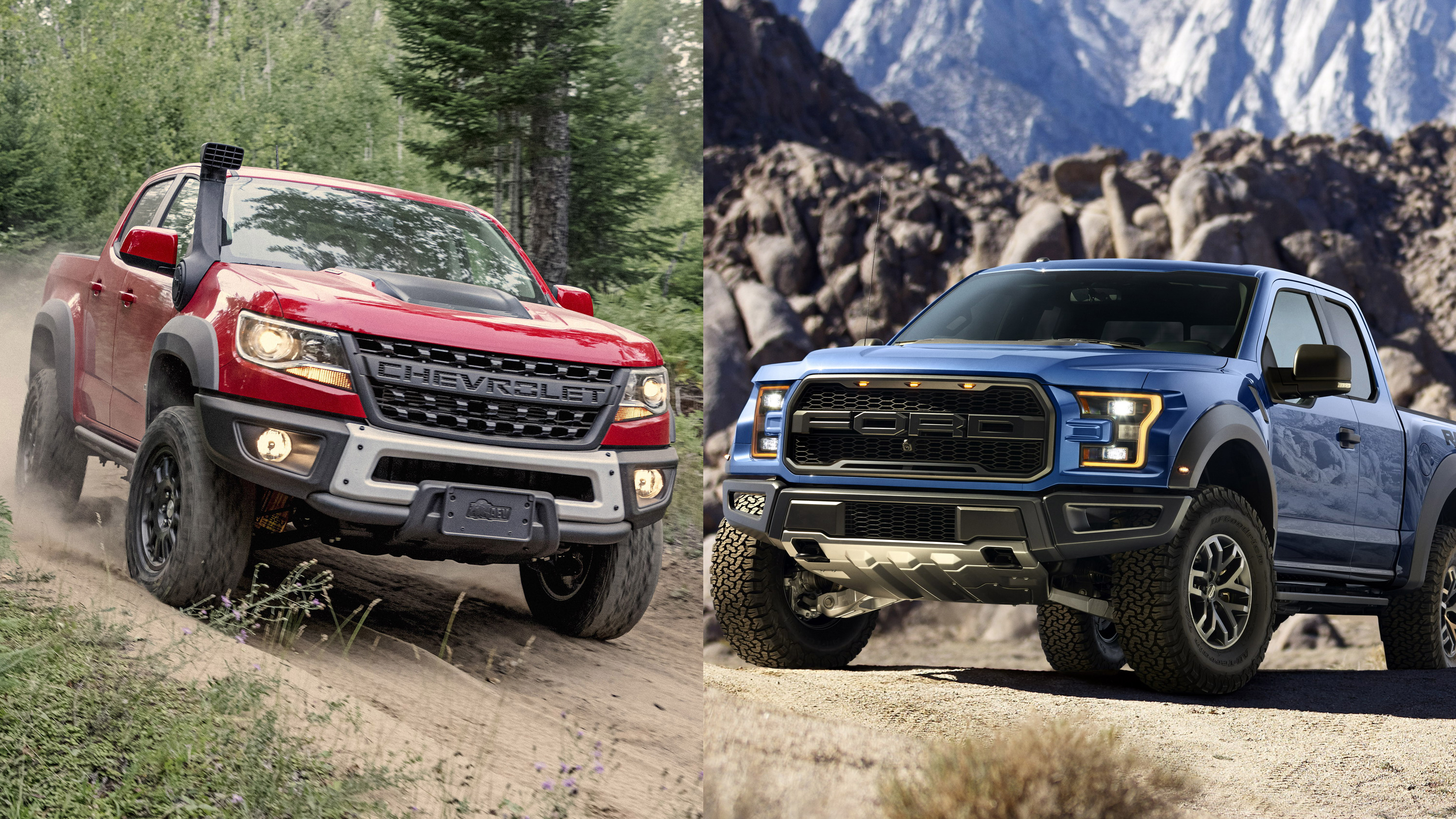 Chevy Colorado ZR2 Bison Vs Ford F-150 Raptor Pictures ...